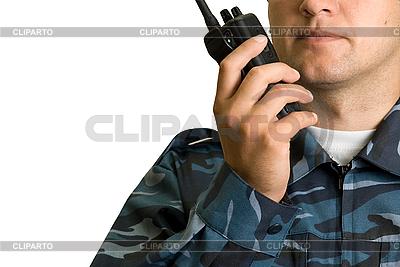 Nadajnik w ręce straży | Foto stockowe wysokiej rozdzielczości |ID 3030609