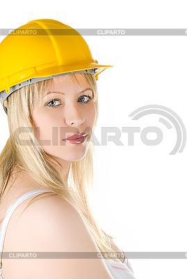 Frau im gelben Aufbau-Helm | Foto mit hoher Auflösung |ID 3030877