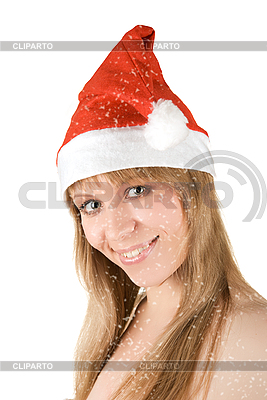 Schönes Santa-Mädchen und Schneefall | Foto mit hoher Auflösung |ID 3031028