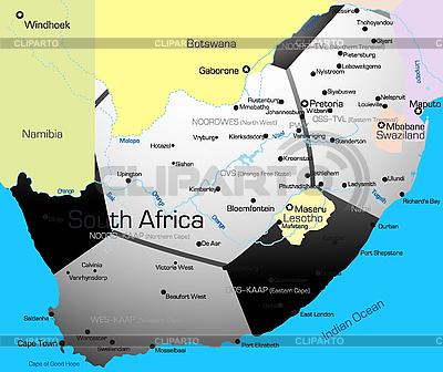Fußball-Karte von Südafrika | Illustration mit hoher Auflösung |ID 3031453
