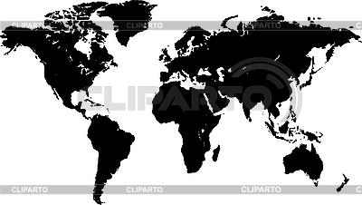 Czarny mapie świata | Klipart wektorowy |ID 3032038