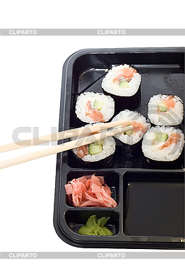 Rolls von Sushi auf dem Teller | Foto mit hoher Auflösung |ID 3032078