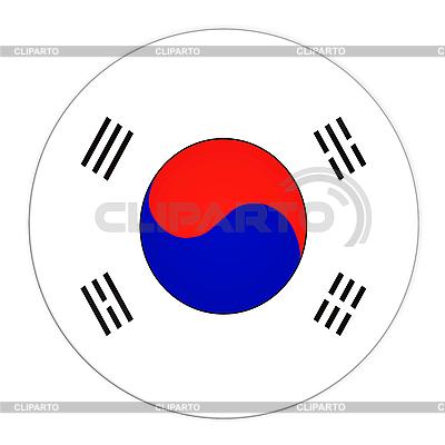 Przycisk z flagą Korei Południowej | Stockowa ilustracja wysokiej rozdzielczości |ID 3032556