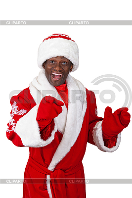 schwarzer weihnachtsmann foto mit hoher aufl246sung cliparto