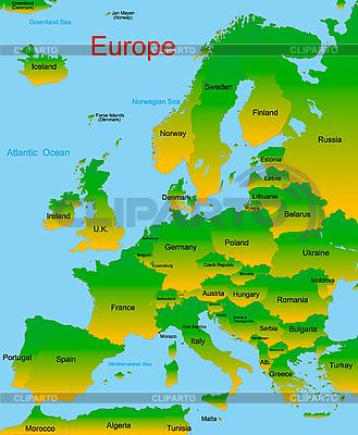 Mapa kontynentu europejskiego | Klipart wektorowy |ID 3196559