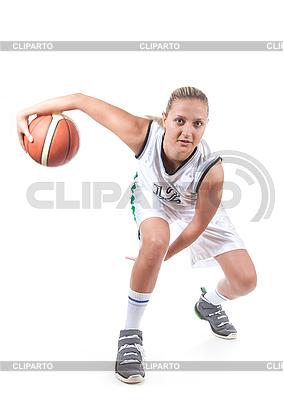 Kobieta koszykarz w akcji | Foto stockowe wysokiej rozdzielczości |ID 3019942