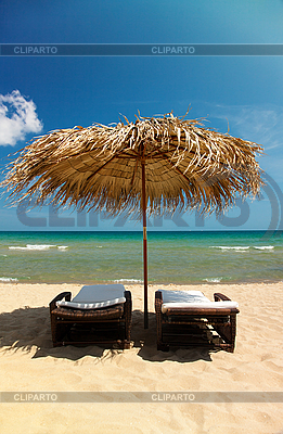 Leżaki na tropikalnej plaży | Foto stockowe wysokiej rozdzielczości |ID 3020499