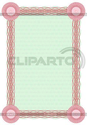 Гильош зелено-красный диплом с рамкой | Векторный клипарт |ID 3020540