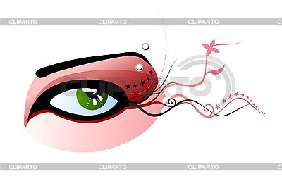 绿色的眼睛和眉毛划破 | 向量插图 |ID 3020563