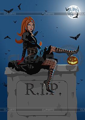 Piękne czarownica siedzi na nagrobku | Klipart wektorowy |ID 3021549