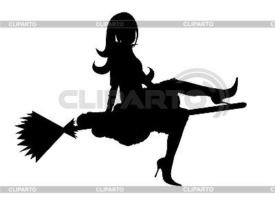 Sylwetka wiedźma | Klipart wektorowy |ID 3021581