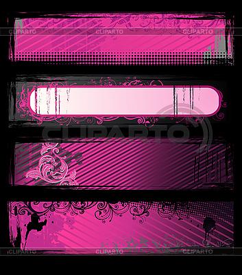 Różowy grunge banery | Klipart wektorowy |ID 3022343
