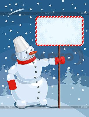 Weihnachts-Grußkarte mit Schneemann | Stock Vektorgrafik |ID 3022559