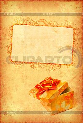 Vintage-Karte mit Geschenkbox | Foto mit hoher Auflösung |ID 3023466