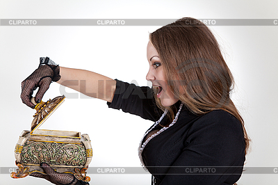 Überraschte Frau mit Schmuckschatulle | Foto mit hoher Auflösung |ID 3023663