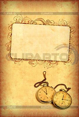 Alte Postkarte mit Uhr und Rahmen | Illustration mit hoher Auflösung |ID 3023704