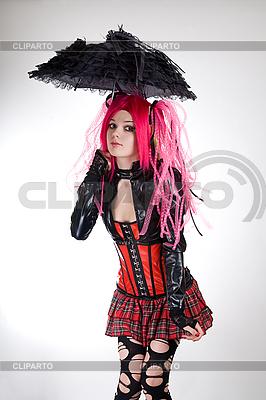 Funny gothic dziewczyna z parasolem | Foto stockowe wysokiej rozdzielczości |ID 3023725