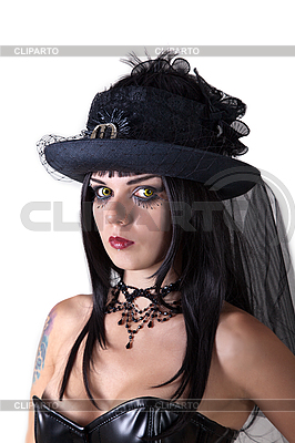 Junge Hexe im Hut mit Schleier | Foto mit hoher Auflösung |ID 3071147