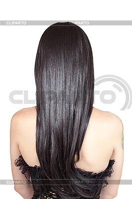 Rückansicht der jungen Frau mit schwarzen seidigen Haaren | Foto mit hoher Auflösung |ID 3110075