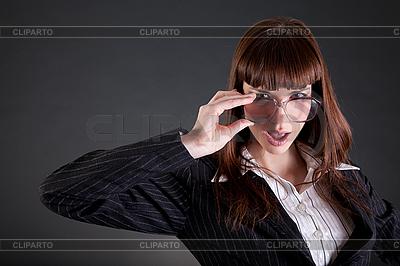Lustige Geschäftsfrau in altmodischer Brille | Foto mit hoher Auflösung |ID 3124535