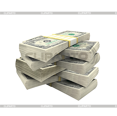Wiele dolarów na białym tle | Foto stockowe wysokiej rozdzielczości |ID 3019807