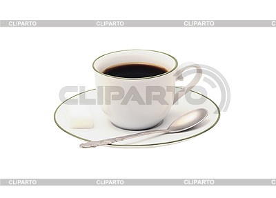 Filiżanka kawy i łyżka na białym tle | Foto stockowe wysokiej rozdzielczości |ID 3019895