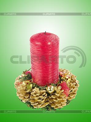 Rote Weihnachtskerze | Foto mit hoher Auflösung |ID 3019903