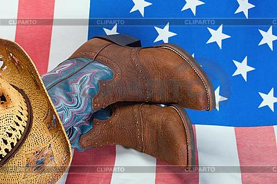 Ковбойские сапоги на американском флаге | Фото большого размера |ID 3129198