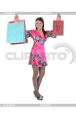 쇼핑 가방을 가진 아름 다운 소녀 | 높은 해상도 사진 |ID 3021583