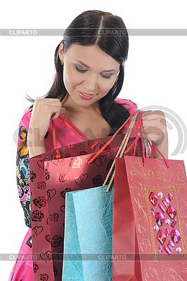 Schöne junge Frau mit Einkaufstüten | Foto mit hoher Auflösung |ID 3021586