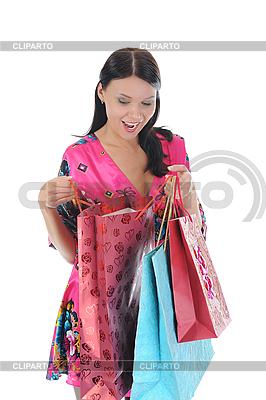 Красивая девушка с покупками | Фото большого размера |ID 3021587