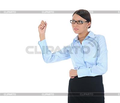 Женщина-бизнесмен держит шариковую ручку | Фото большого размера |ID 3021596