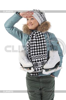Frau mit Schlittschuhen   Foto mit hoher Auflösung  ID 3021669