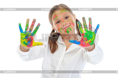 Lächelndes Mädchen mit den Handflächen von Farben bemalt | Foto mit hoher Auflösung |ID 3021840