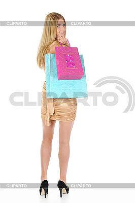 Piękne Blondynka z torby na zakupy | Foto stockowe wysokiej rozdzielczości |ID 3021892