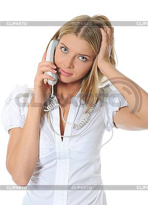 그의 손에 휴대 전화와 함께 아름 다운 여자입니다. | 높은 해상도 사진 |ID 3021898