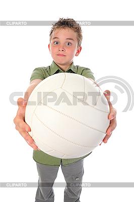 Młody piłkarz z duża piłka | Foto stockowe wysokiej rozdzielczości |ID 3021941