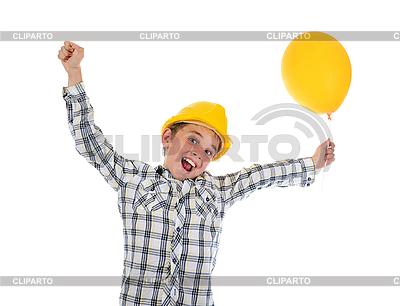 Kleiner lächelnder Baumeister im Helm | Foto mit hoher Auflösung |ID 3021964