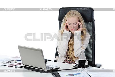 Müde junge Frau im Büro. | Foto mit hoher Auflösung |ID 3022019