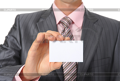 Geschäftsmann hält leere Visitenkarte | Foto mit hoher Auflösung |ID 3022125