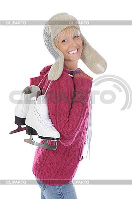 Junge Frau mit Schlittschuhen | Foto mit hoher Auflösung |ID 3022143