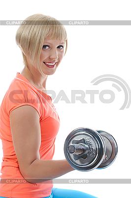 Junge Frau-Athlet mit Hantel | Foto mit hoher Auflösung |ID 3022148
