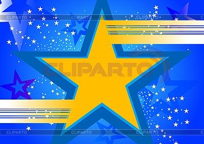 Niebieskie tło z żółtą gwiazdą | Klipart wektorowy |ID 3022894