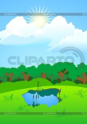 Jezioro w lesie na polanie | Klipart wektorowy |ID 3024637