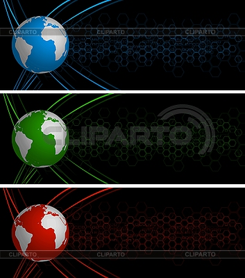 Abstrakt globalne banery | Klipart wektorowy |ID 3026189
