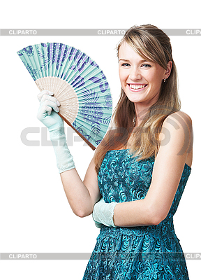 Junge Frau mit Fächer | Foto mit hoher Auflösung |ID 3023845