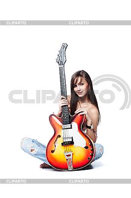 Schöne Rock-n-Roll-Mädchen mit Gitarre | Foto mit hoher Auflösung |ID 3023870