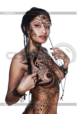 Sensual beautiful model with bodypainting | High resolution stock photo |ID 3023900
