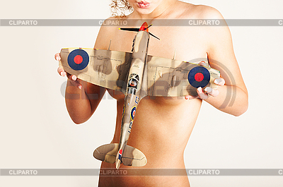 Naked girl and airplane | High resolution stock photo |ID 3024237