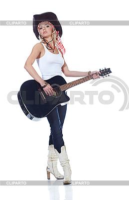 Cowboy-Mädchen mit akustischer Gitarre | Foto mit hoher Auflösung |ID 3024241